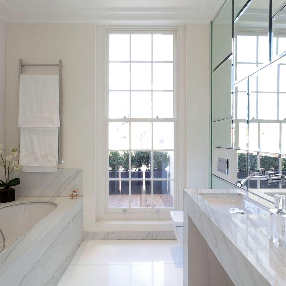 White Macaubas Quartzite Bathroom