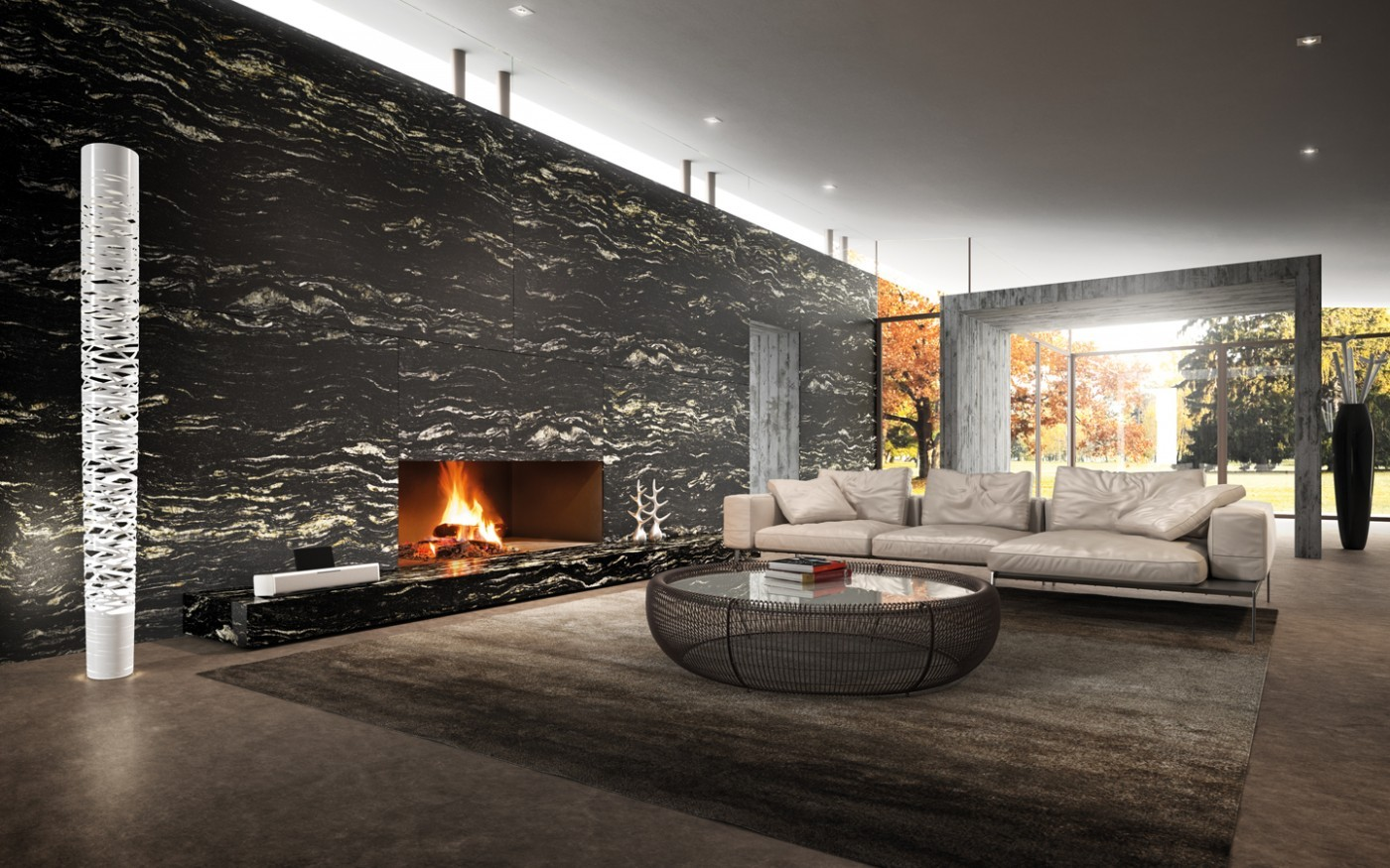 Black Cosmic Granite Fireplace