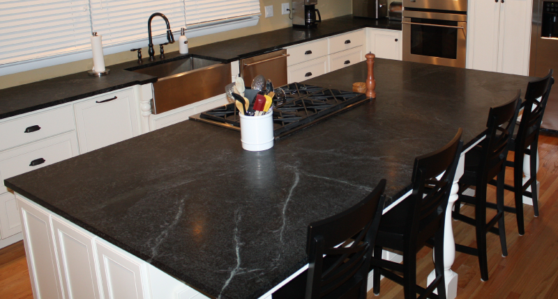 Black Soapstone Kitchen Island